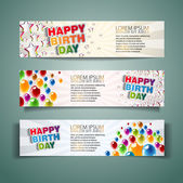 Happy Birthday Holiday banners with colorful balloons and stars — Stock Photo