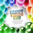 Happy Birthday card with colorful balloons — Stock Photo