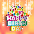 Illustration for happy birthday card with balloons — Stock Photo