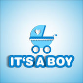 Baby card - Its a boy theme - with baby carriage — Foto Stock