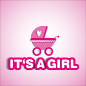 Baby card - Its a girl theme - with baby carriage — Stock Photo