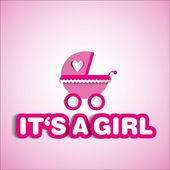 Carte de bébé - c'est un thème fille - avec Landau — Photo