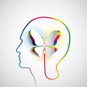 人体头部与纸蝴蝶 — 图库照片