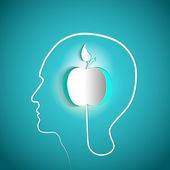 Human head with paper Apple — Stock Photo