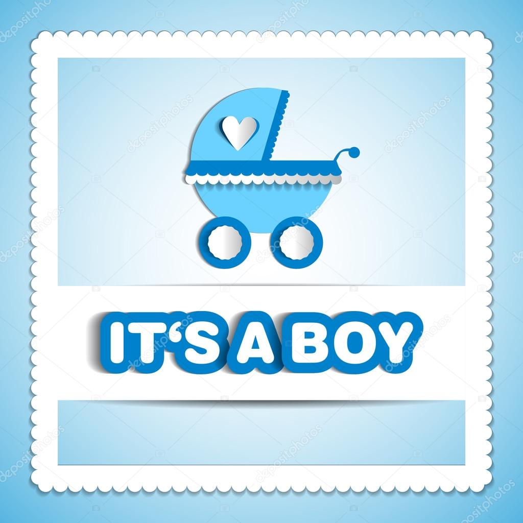 Baby card - Its a boy theme - with baby carriage — Stock Photo ...