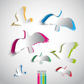 Greeting card with paper birds — Stock Photo