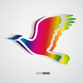 Greeting card with paper bird — Foto de Stock