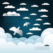 Arrière-plan des oiseaux de papier et des nuages — Photo
