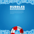 Soap bubble bath blue on background with rescue wheel, vector illustration — Stock Photo