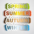 Spring, Summer, Autumn, Winter paper sign -  symbol sticker — Stock Photo #28878433