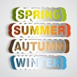 Spring, Summer, Autumn, Winter paper sign - vector symbol sticker — Stock Photo