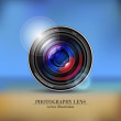 Camera photo lens on background - vector symbol or icon — Stock Photo