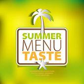 Letní menu chuť motiv s palmou papíru a seastar — Stock fotografie