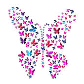 Greeting card with paper butterflies shape — Stock Photo