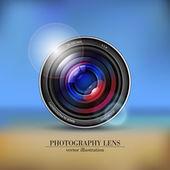Camera photo lens on background — Stock Photo