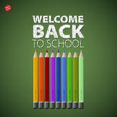 καλώς ήλθατε πίσω στο σχολείο του φόντου με πολύχρωμα μολύβια — Φωτογραφία Αρχείου