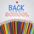 Welcome Back to school background with colorful pencils, vector — Stock Vector #30144727