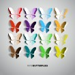Set of paper butterflies — Image vectorielle