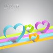 Colorful Abstract paper lines and hearts — Stock Vector #30146455