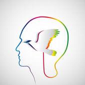 Human head with paper raindow bird — Stock Vector