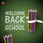 Bienvenido a la escuela con lápices de colores de fondo, vector — Vector de stock