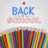 Bentornato a scuola sfondo con matite colorate, vettoriale — Vettoriale Stock
