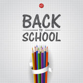 Welcome Back to school background with colorful pencils, vector — Stock Vector