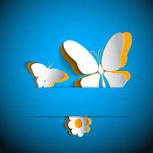 Hediye kartı ile kağıt çiçek ve kelebek — Stok Vektör