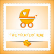 Stock Vector: Card with baby carriage