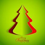 veselé vánoční papír Zelený strom designu blahopřání — Stock vektor