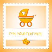 Card with baby carriage — Stock Vector