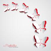 Přání s papíru motýli — Stock vektor