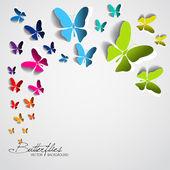 открытка с бумаги бабочки — Cтоковый вектор