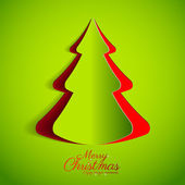 Merry Christmas paper green tree design greeting card — Stock Vector
