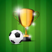 Soccer ball and trophy victory — Vetor de Stock