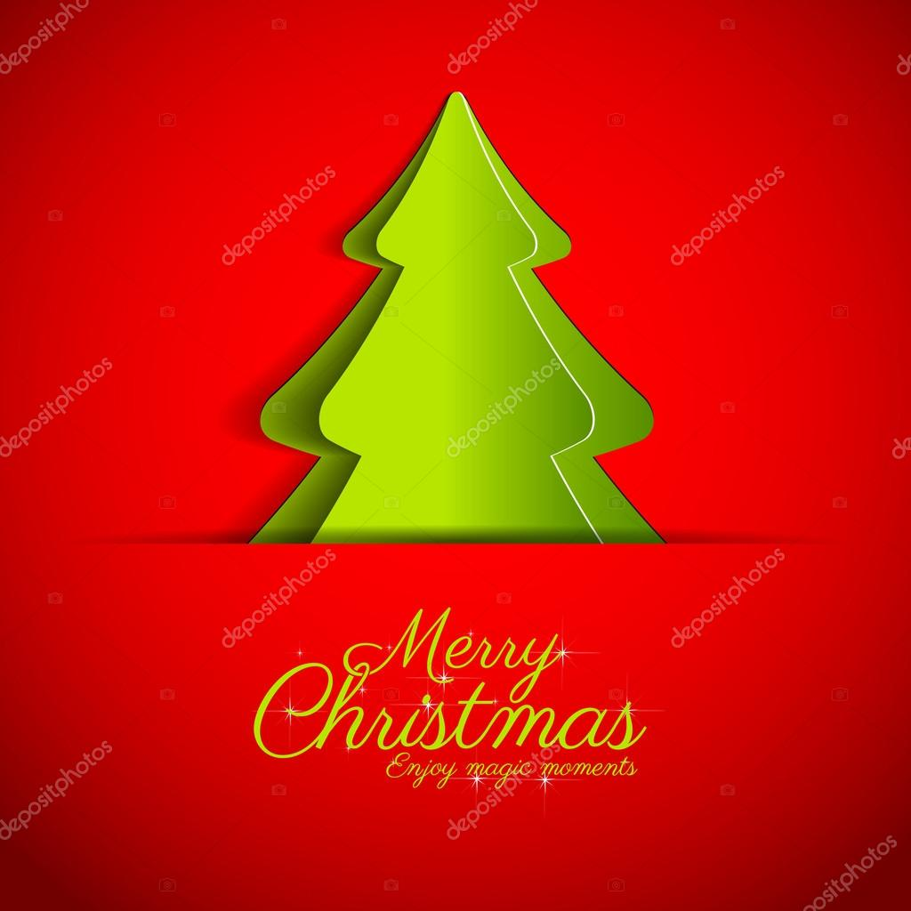 Merry Christmas paper green tree design greeting card — Stock Vector ...