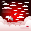 Weather paper background - Red sky with clouds and birds  — Stock Vector