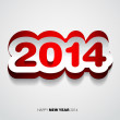 Stock Vector: Happy New Year 2014 red and white vector card