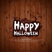 Happy Halloween sign and theme design on wooden background — Stockvector