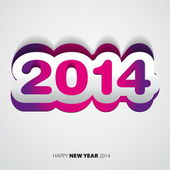 Happy New Year 2014 purple and white vector card — Stock Vector