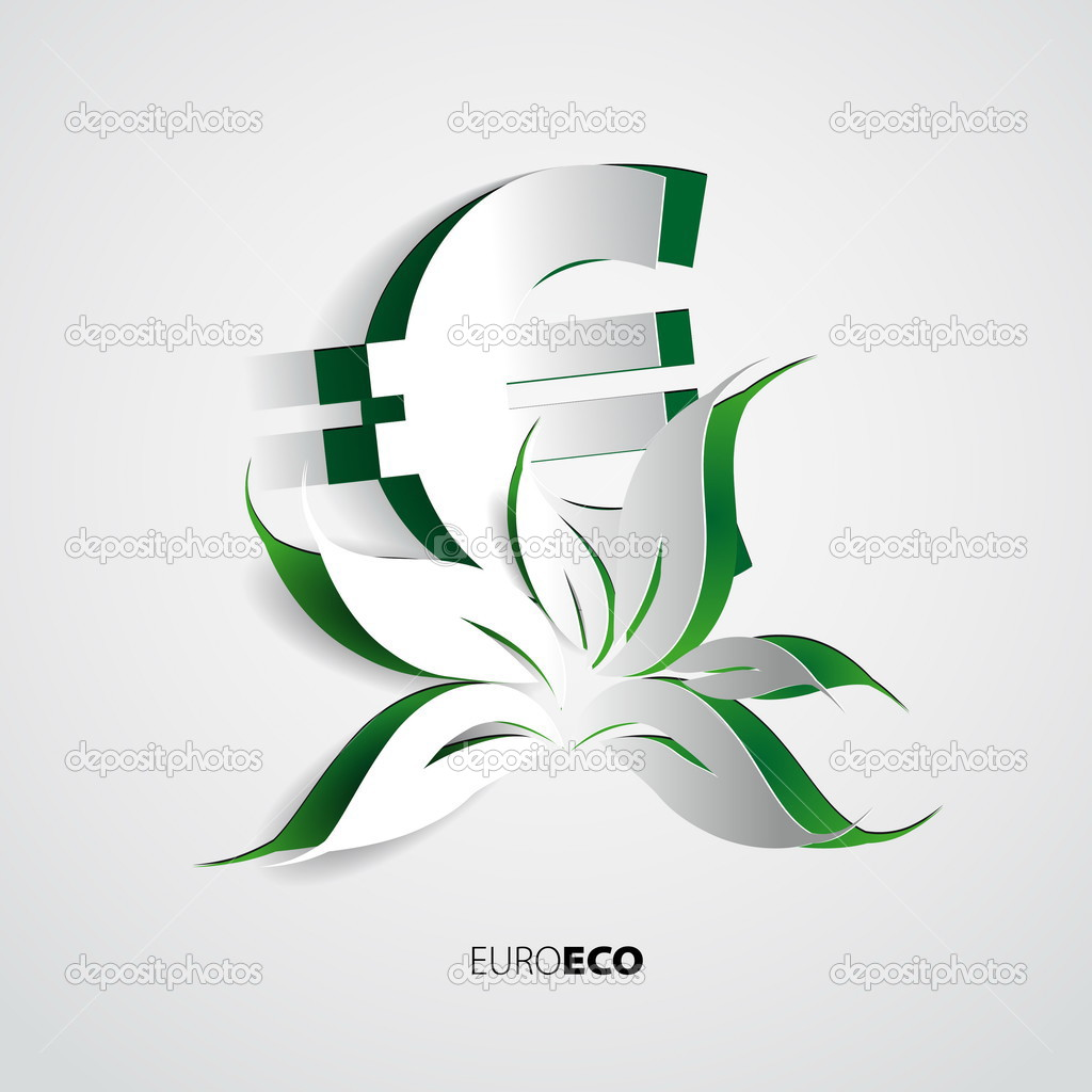 Illustration of paper euro symbol and green Eco flower — Stock Vector © matju