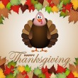 Happy Thanksgiving cartoon turkey - card vector illustration — Stock Vector