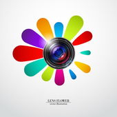 Camera photo lens with flower — Stock Vector
