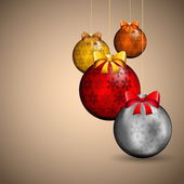 Elegant christmas background with golden baubles and flakes — Stok Vektör