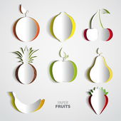 Paper Fruit Set cut out — Stock Vector