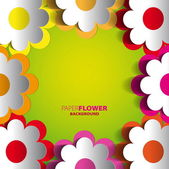 Color paper flowers cutout background — Stock Vector