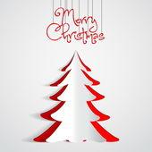 快乐圣诞纸树设计贺卡 — 图库矢量图片