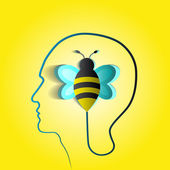 Human head with paper bee — Stock Vector