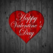Happy Valentines Day - Red Heart Paper Sticker With Shadow — Vector de stock