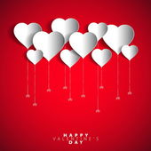 Happy Valentines Day Heart Balloons on red Background — Stock Vector